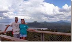Dan and Tricia in firetower atop Mount Kineo