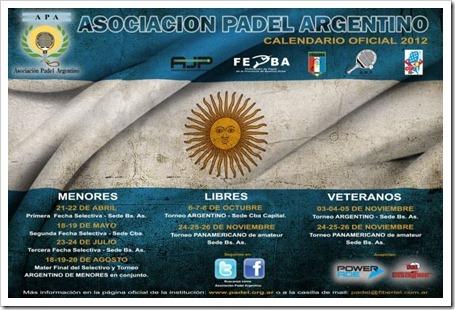 Calendario Oficial Asociación Pádel Argentino A.P.A para esta temporada 2012.