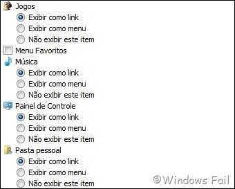 As opções da janela que permitem escolher entre 3 sub-opções são itens que aparecem na parte mais escura do menu Iniciar