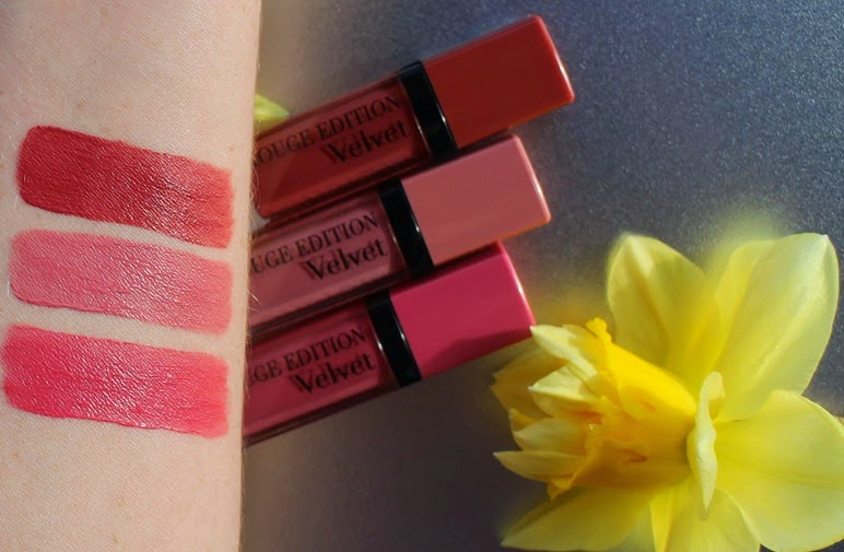 Bourjois-Rouge-Velvet-So-Happink,Dont-Pink-of-it, Beau-Brun-swatches