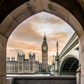 Big Ben by Sheldon Anderson - Buildings & Architecture Public & Historical ( parliament, london, 2014, sunset, dramatic, scenic, big ben, bridge, river )