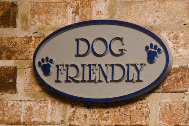"""Dog friendly"" sign at Bistro 13"