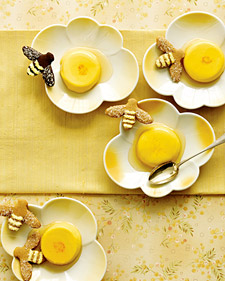Honey Saffron Panna Cottas With Bee Cookies