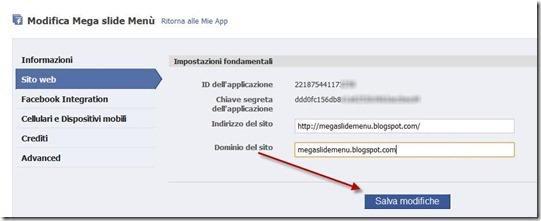 modifica applicazione facebook