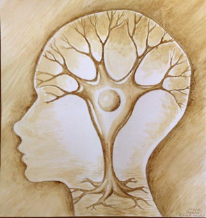 Arborele mental pictura facuta cu cafea - The tree of the mind coffee painting