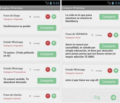 Frases y Estados WhatsApp: aplicación móvil para Android