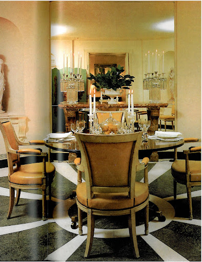 Eleanor Brown's own dining room on Sutton Place, NYC, is simple and elegant. I love the color choices, crystal candelabras and marble accents.