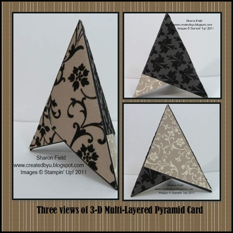 Mocha Morning Specialty, Designer Series Paper, Pyramid_Card, Sharon Field, Libbystampz, blogspot, createdbyu, 3D, Designer series paper, dsp, scrapbook, mds, pyramid, card, wedding