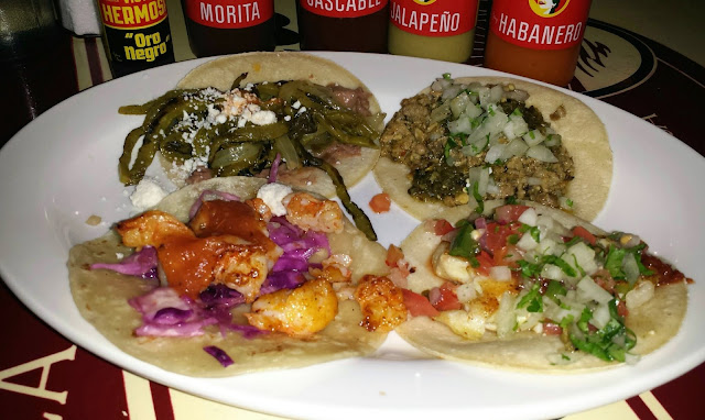 nopal, Puerco Toluca, seared fish, Sonoran shrimp tacos