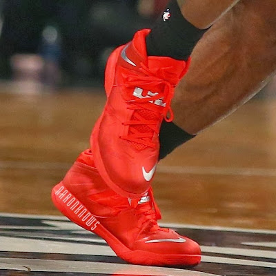 lebron james nba 140110 mia at bkn 01 King James Fouls out in Nickname Game. Wears Soldier 7 All Red PE.