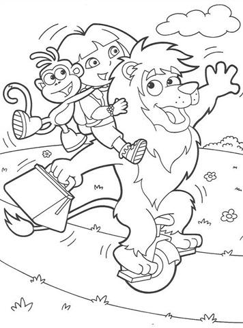 Desenhos Preto e Branco Dora a aventureira Passeando para Colorir
