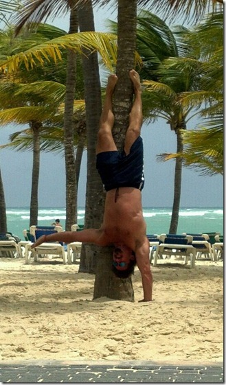 one arm handstand on beach 001