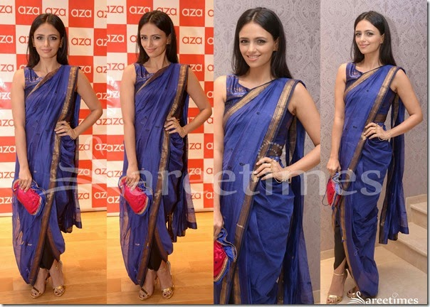 Roshini_Chopra_Blue_Silk_Saree