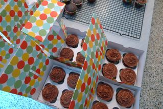 Here is a photograph from Alexis Stewart's blog -- these cupcakes are sitting in a playful and fun Martha Stewart box from Macy's.