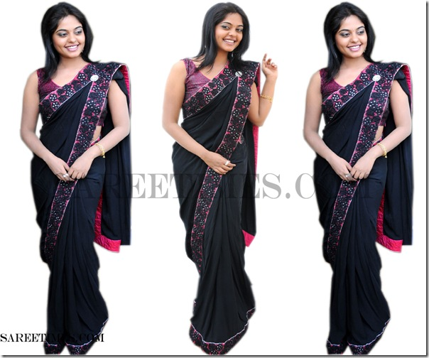 Bindhu_Madhavi_Black_Designer_Saree