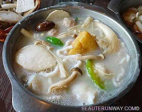 JPOT mushroom fish yong tau fu in silky porridge soup base