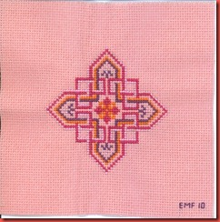 Celtic Knot I: 4 colors of DMC floss on 18-ct China Rose Aida