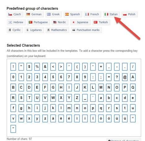 selezionare-caratteri