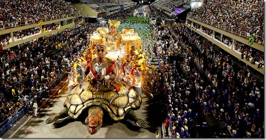 The Imperatriz Leopoldinense samba school parades during celebrations at the Sambadrome in Rio de Janeiro. (Felipe Dana/Associated Press)