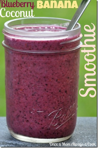 Blueberry, Banana, Coconut Smoothie