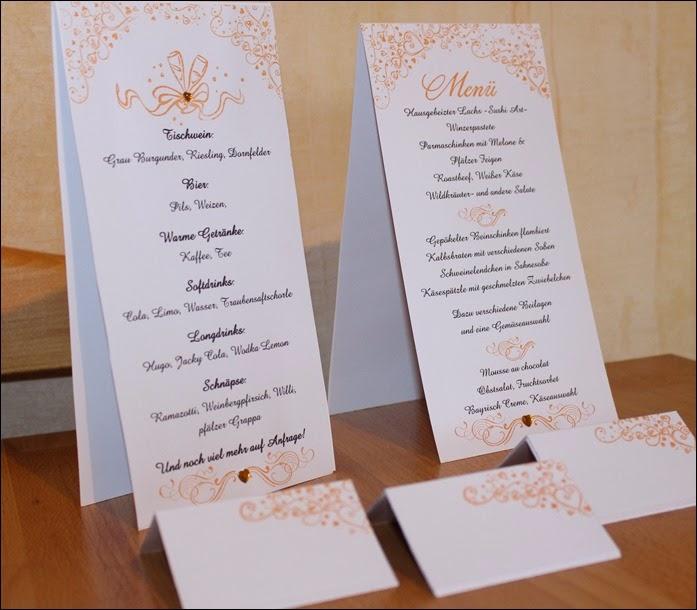 Hochzeit Menükarten Tischkarten