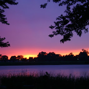 Sunset in Missouri by Loren Bradley - Landscapes Sunsets & Sunrises ( clark, lewis, purple, sunset, lake )