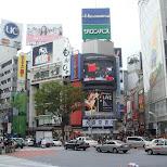 shibuya crossing with traffic in Shibuya, Tokyo, Japan