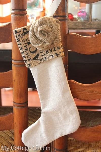 burlap Christmas stocking (2)