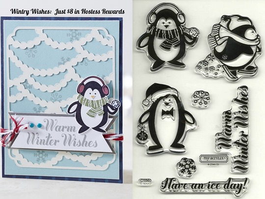 wintry wishes penguins C1560 CTMH Exclusive Hostess Rewards Stamp Set