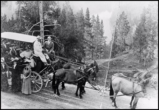 Four horse coach with tourists;<br />Haynes;<br />1910