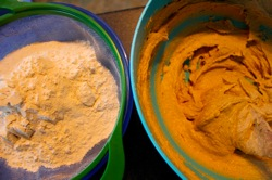 Cream butter and sugar and sift flour