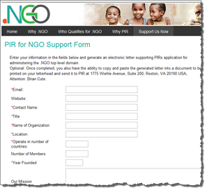 NGO Support Form Image