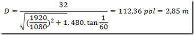 Equação para distância ideal da televisão - 32 polegadas em DVD
