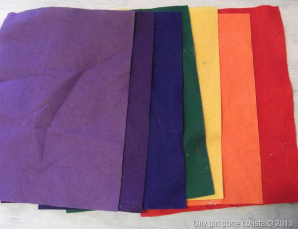 rainbow coloured sheets of felt
