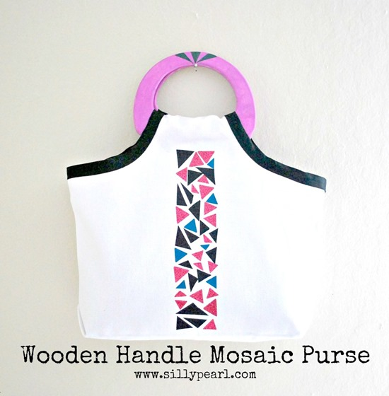 Wooden Handle Mosaic Purse--The Silly Pearl