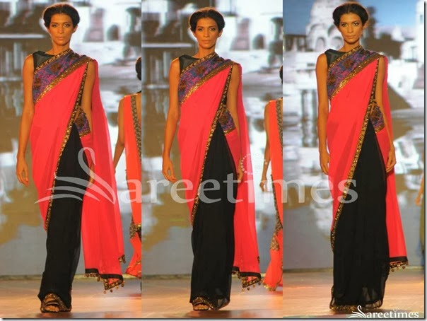 Manish_Malhotra_Pink_Black_Half_and_Half_Saree