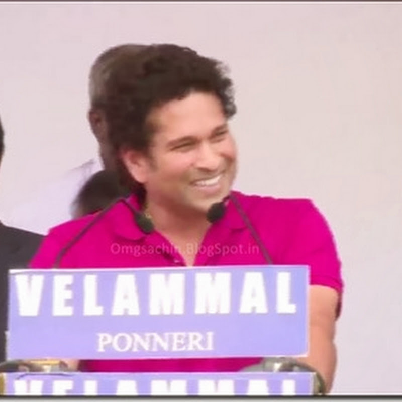 EXCLUSIVE VIDEO : Sachin Tendulkar's Speech at Velammal School Ponneri, Chennai - Feb 26, 2014