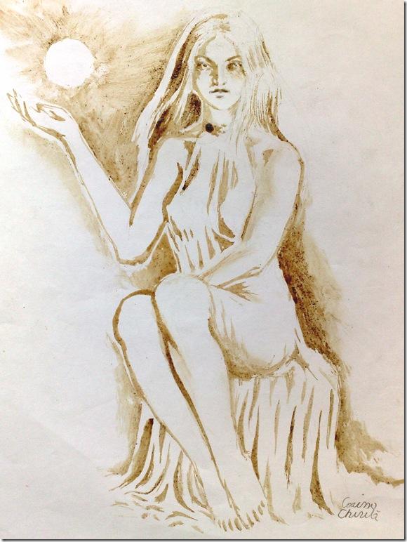 Persephone coffee painting - Persephona Pictura facuta cu cafea