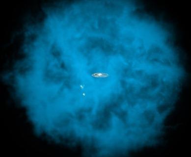 ilustração do halo envolvendo a Via Láctea