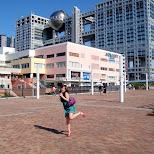 shizuka in front of the fuji tv building in Odaiba, Tokyo, Japan