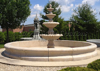 "16' Round H18"" Contour Fountain Pool Surround, Giallo Fantasia Y Granite"