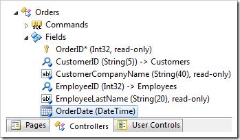 OrderDate field of Orders controller.