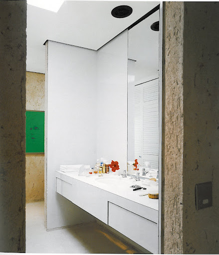 This bathroom design is very reminiscent of the master bath in my new apartment. Like this structure, my sink has a lot of unused space underneath. I'm thinking about turning it into storage.