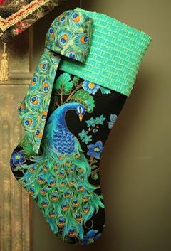 peacock Christmas stocking