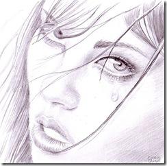 Portret de fata sexy cu lacrima in ochi