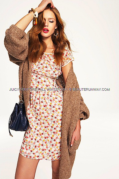 JUICY COUTURE Fall Winter 2011 Melton wool coat with silk dress