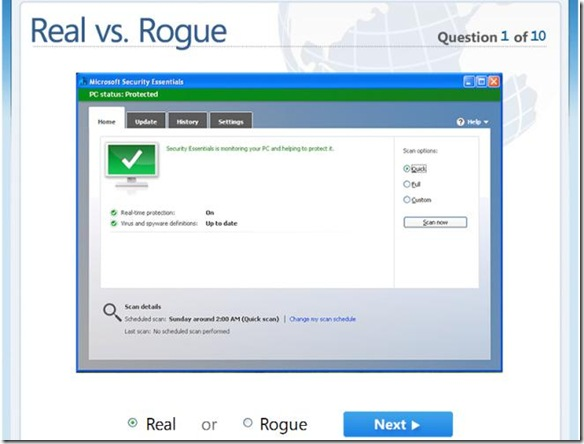 Domanda Quiz Microsoft Real vs. Rogue