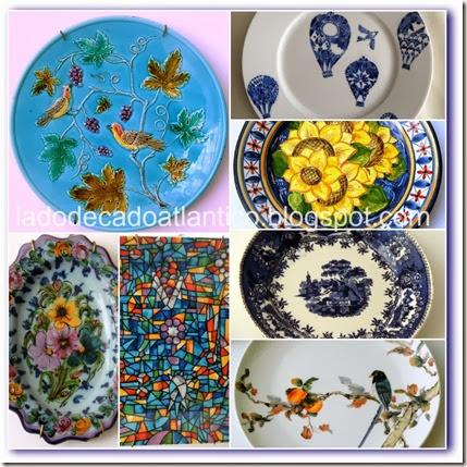 Imagem de um conjunto de pratos contendo a cor azul expostos na parede