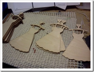 Wood cutout dress ornaments