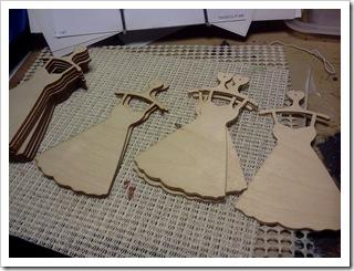 Wood cutout dress ornaments